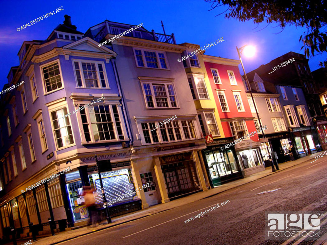 Stock Photo: High Street City Centre Downtown Oxford England.