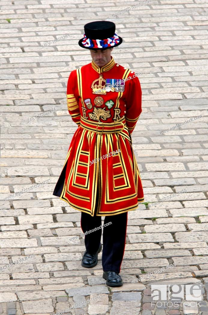 Stock Photo: Beefeater at the Tower of London. Beefeater is the popular name for a Yeomen Warder of the Guard at the Tower of London.