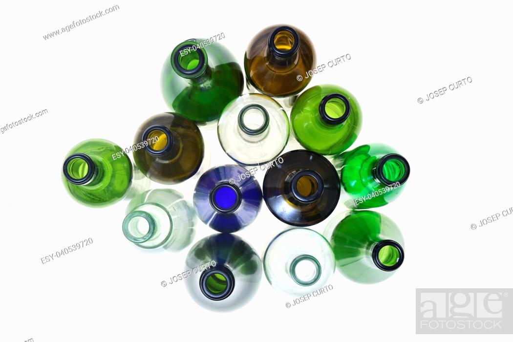 Stock Photo: group of bottle isolated on white.