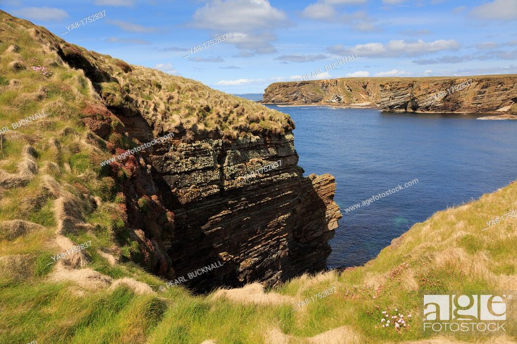 Stock Photo: Burwick, South Ronaldsay, Orkney Islands, Scotland, UK, Great Britain, Europe  Secluded cove on rocky coastline from coast path on seacliffs.
