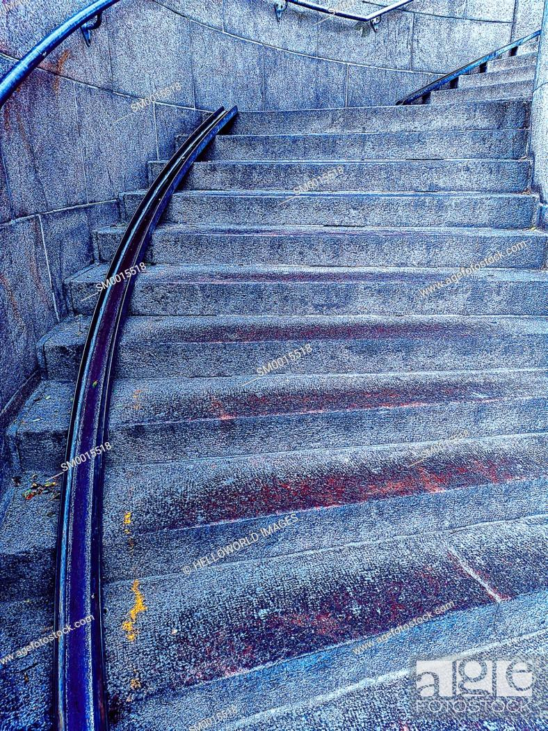 Stock Photo: Wheeling ramp for bicycle accessibility on curved steps, Copenhagen, Denmark, Scandinavia.