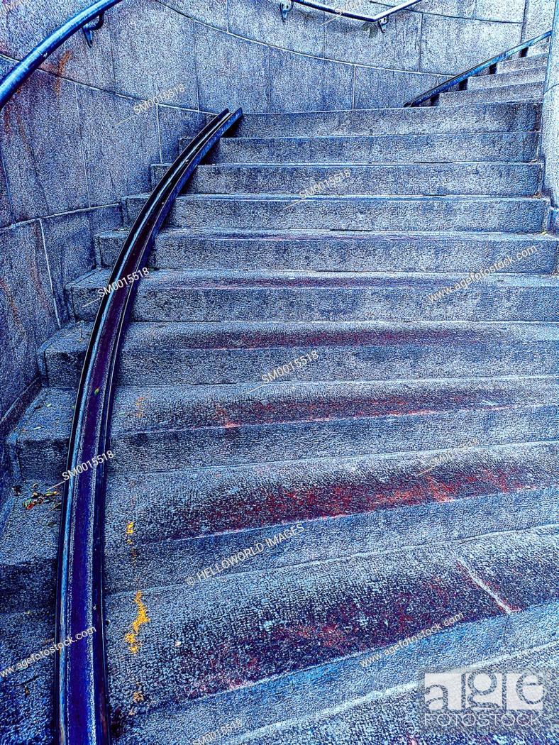 Photo de stock: Wheeling ramp for bicycle accessibility on curved steps, Copenhagen, Denmark, Scandinavia.