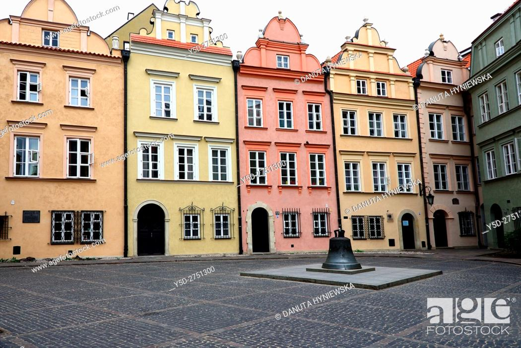 Stock Photo: facades of townhouses and bell, which used to be in St John's Archcathedral, Kanonia Street, Kanonia square, Old Town - UNESCO World Heritage Site, Warsaw.