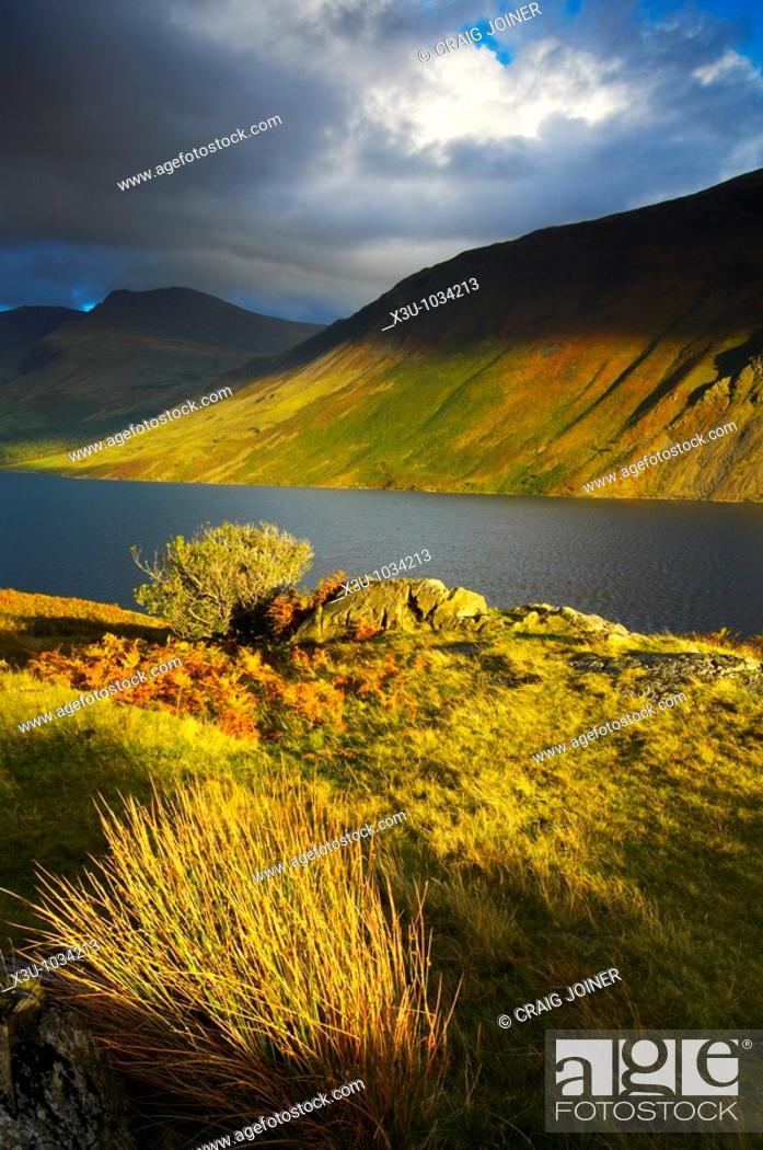 Stock Photo: Wast Water in autumn in The Lake District National Park Cumbria England.