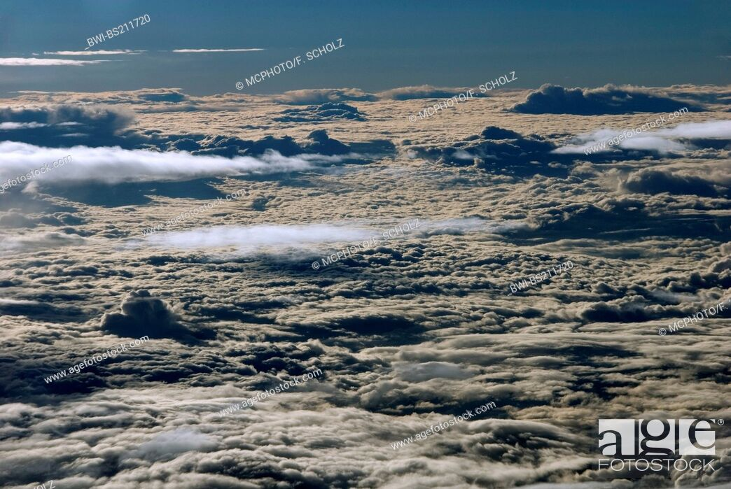 Stock Photo: over the clouds. Cloud cover seen from above, Namibia.