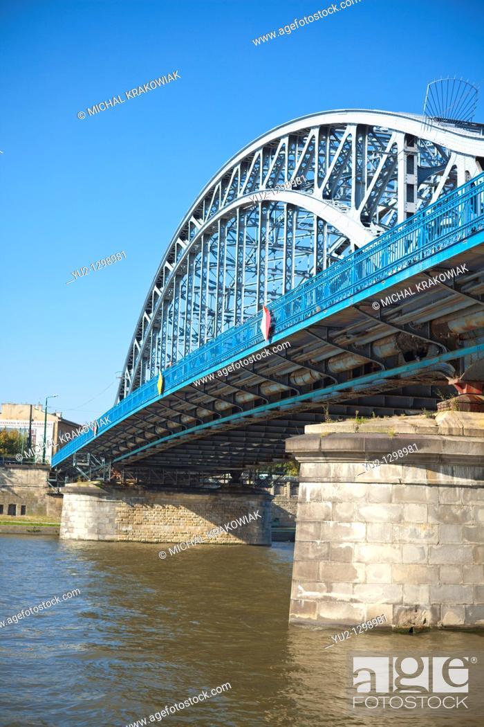 Stock Photo: Pilsudski Bridge in Krakow, Poland.