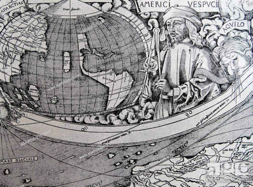 Amerigo Vespucci Map Of America.Waldseemuller Map Of 1507 South America Including A Portrait Of The