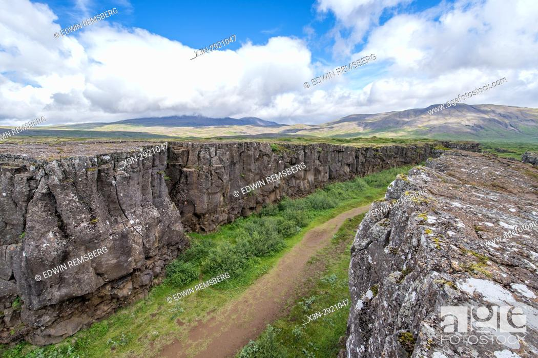 Stock Photo: Iceland - Thingvellir, the rift valley that marks the crest of the Mid-Atlantic Ridge and the boundary between the North American tectonic plate and the.