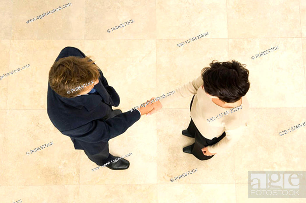 Stock Photo: High angle view of a businessman shaking hands with a businesswoman.