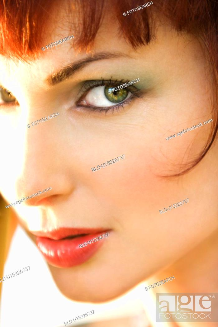 Stock Photo: Close up portrait of attractive Caucasian woman.