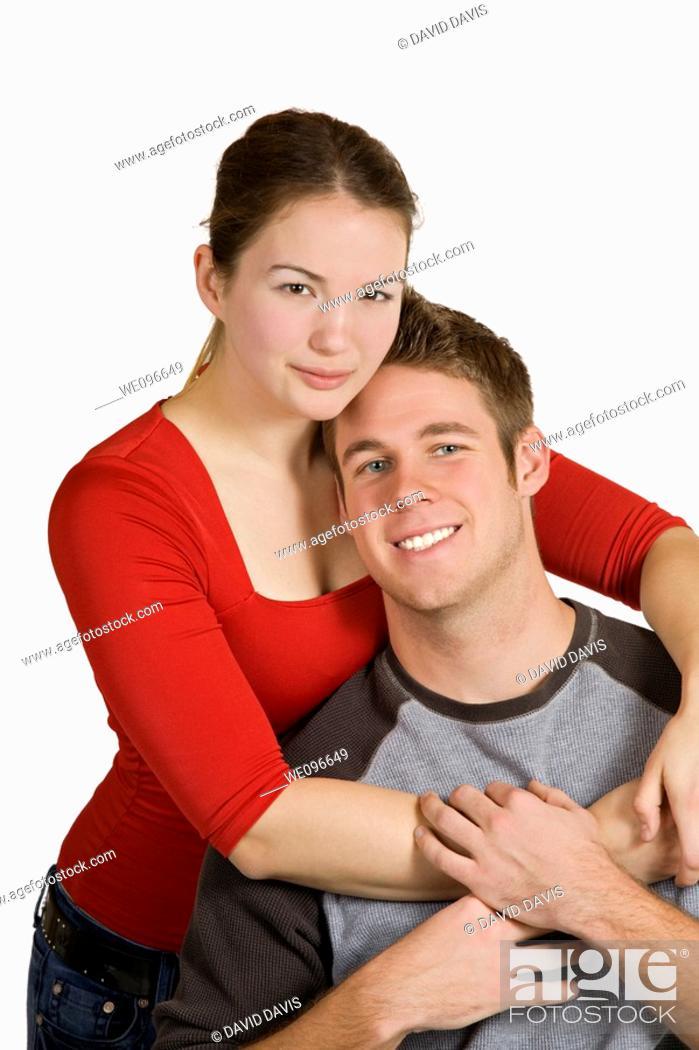 Stock Photo: Caucasian couple having fun together.