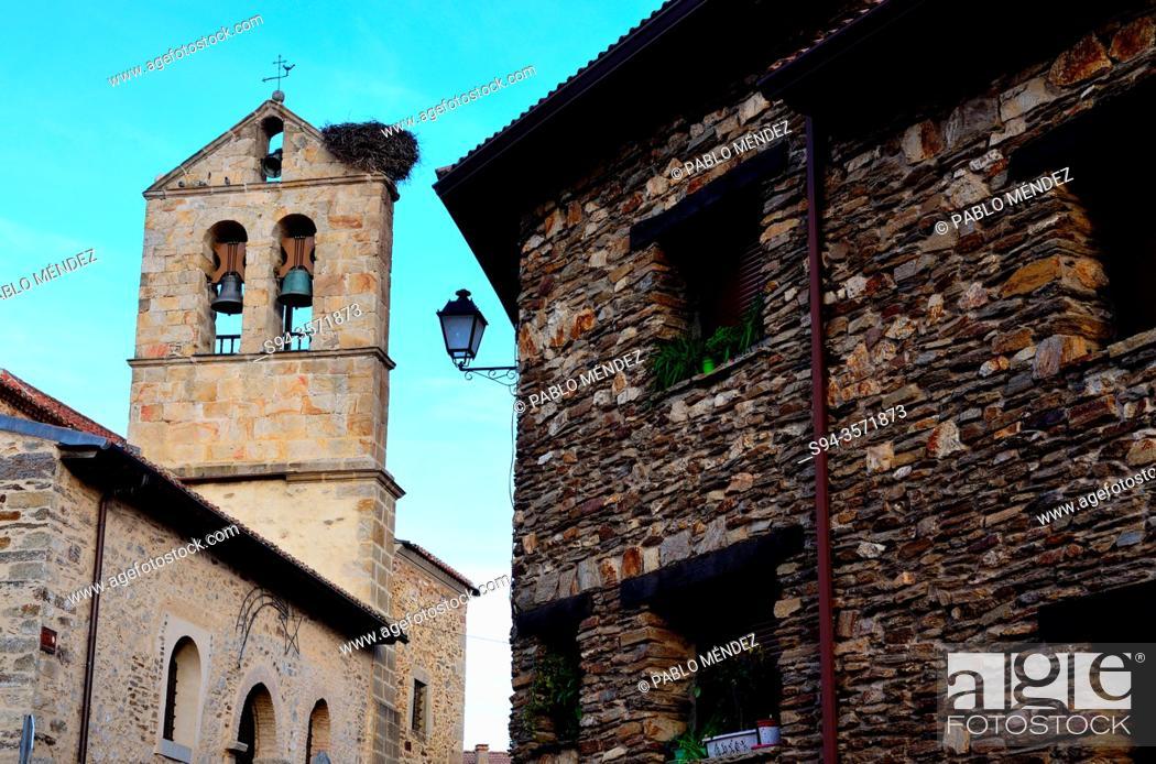 Stock Photo: Church of San Pedro, Montejo de la Sierra, Madrid, Spain.
