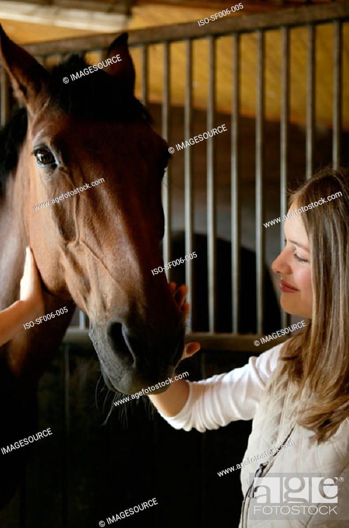 Stock Photo: Young woman stroking horse's face.
