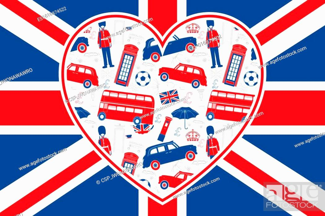 Stock Vector: British flag - Heart - London icons.