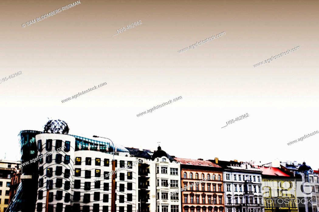 Stock Photo: Dancing Building.  Frank Gehry, Architect. also called the Fred and Ginger Building. Prague, Czech Republic.