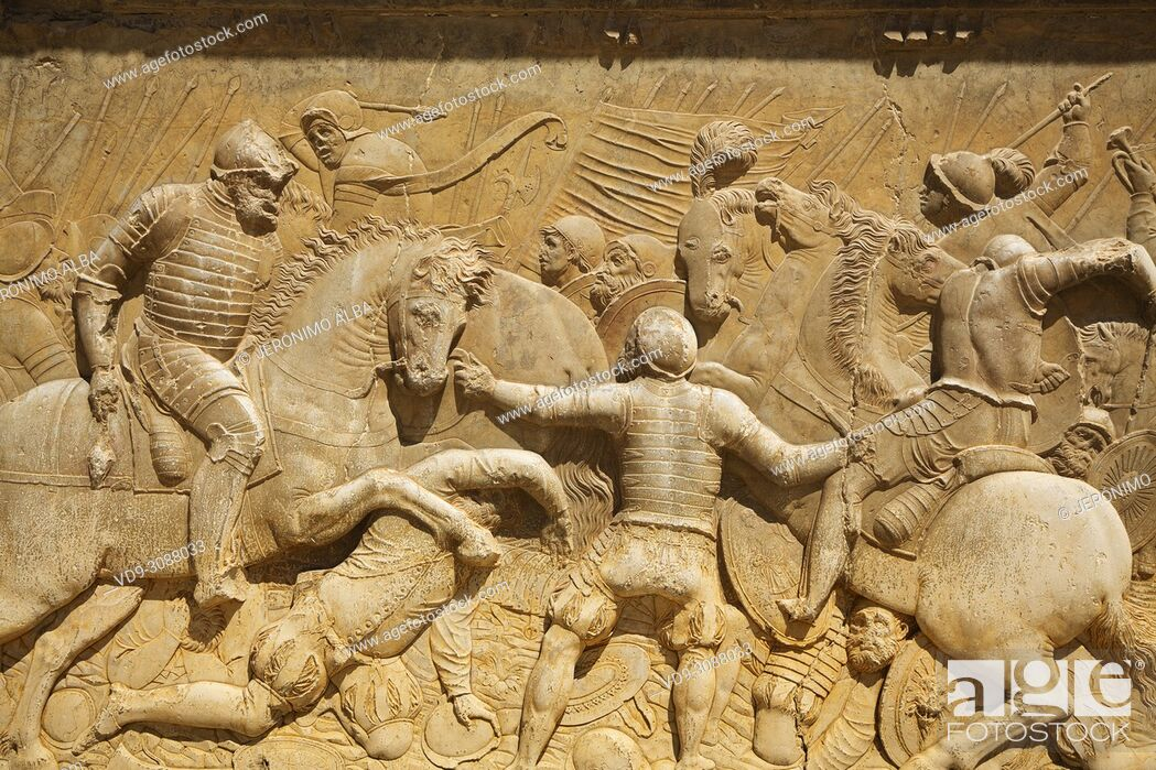 Stock Photo: Relief carving of a battle scene. Palacio de Carlos V. Palace of Charles V. Alhambra, UNESCO World Heritage Site. Granada City.