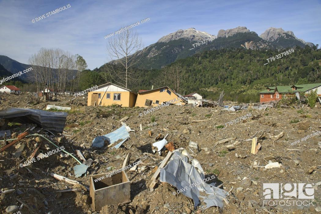 Stock Photo: The aftermath of the powerful landslide that destroyed Santa Lucia village along the Carretera Austral, Patagonia, Chile.
