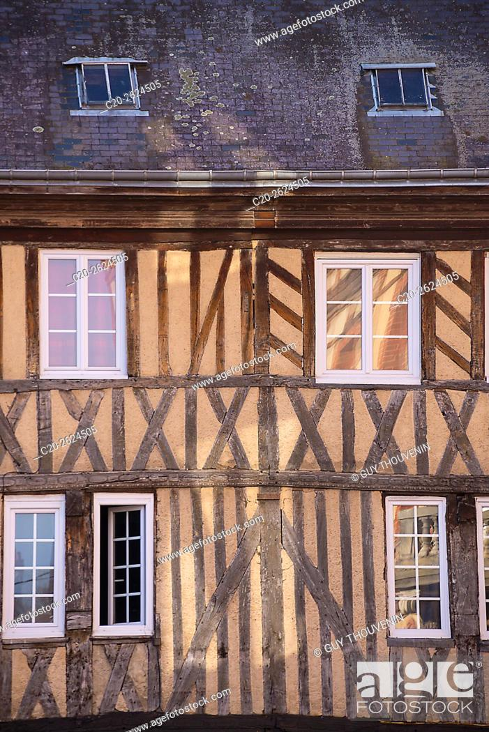 Stock Photo: Medieval half timbered facade, with reflections in windows, Bernay, 27, Normandy, France.