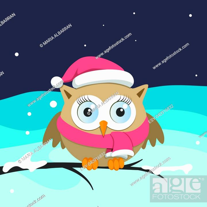 Vector: Female owl with Santa Claus hat on a branch. Christmas vector illustration.