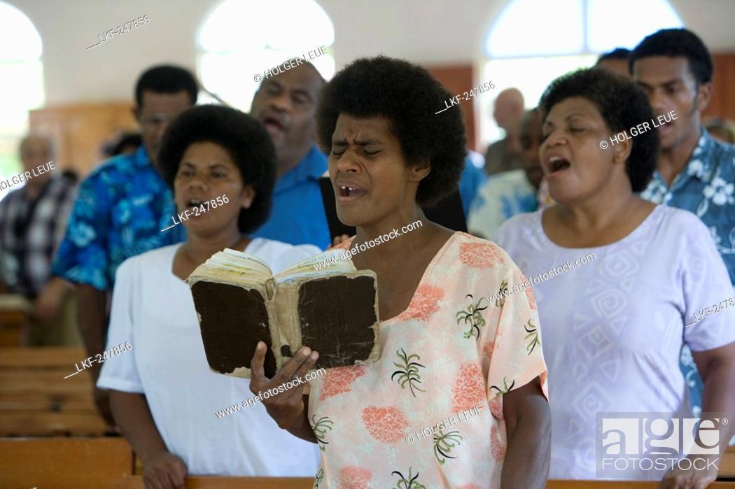 People Singing At Church Service At The Village Naidi Vanua