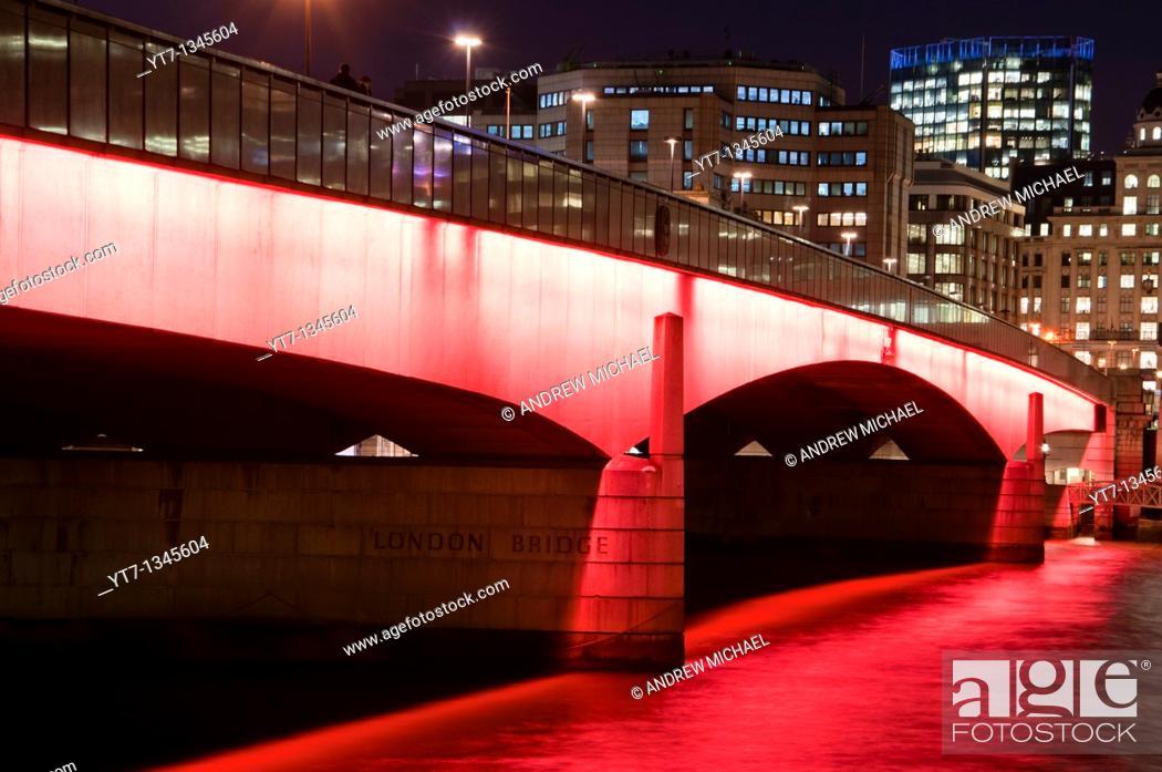 Stock Photo: London bridge on river Thames after dark  England.