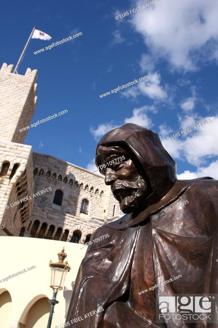 Stock Photo: Statue of François Grimaldi as a monk, Monaco.