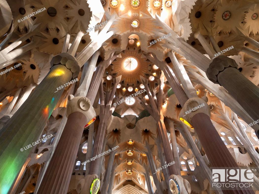 Stock Photo: Interior of the Sagrada Familia temple by architect Gaudi, Barcelona, Catalonia, Spain.