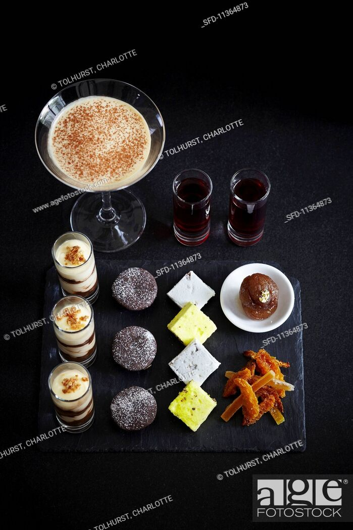 Stock Photo: Various luxury deserts, and espresso Martini and liqueur.