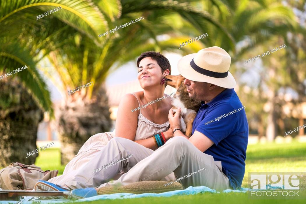 Stock Photo: cheerful caucasian couple enjoying outdoor leisure activity sitting on the green grass at city and play with young crazy dog shetland kissing a lot.