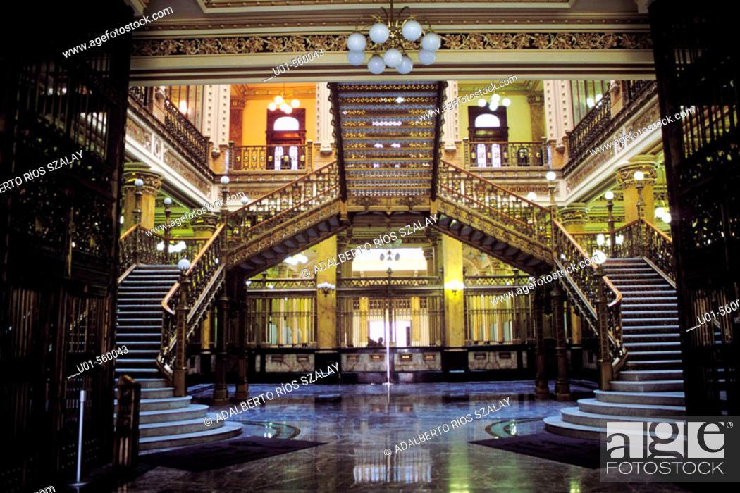 Stock Photo: Main staircase designed in Italian style of Palacio de Correos, Mexico City. Mexico D.F., Mexico.