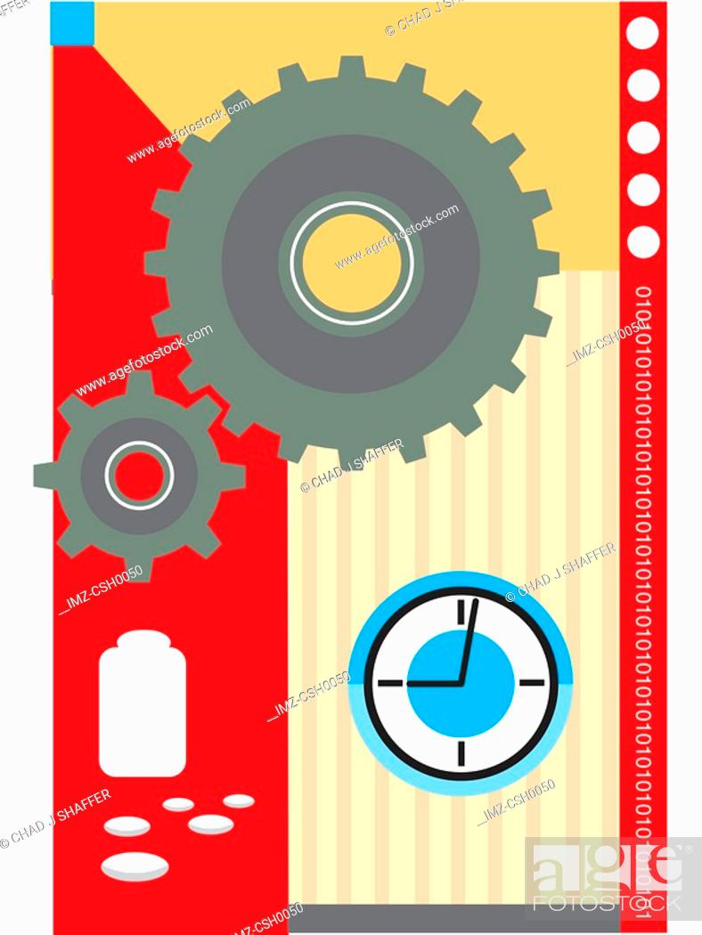 Stock Photo: The gears of healthcare turning with prescription and time.