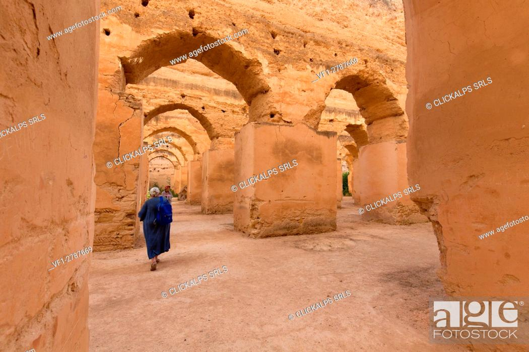 Stock Photo: North Africa, Morocco, Meknes district. Granary of Meknes.