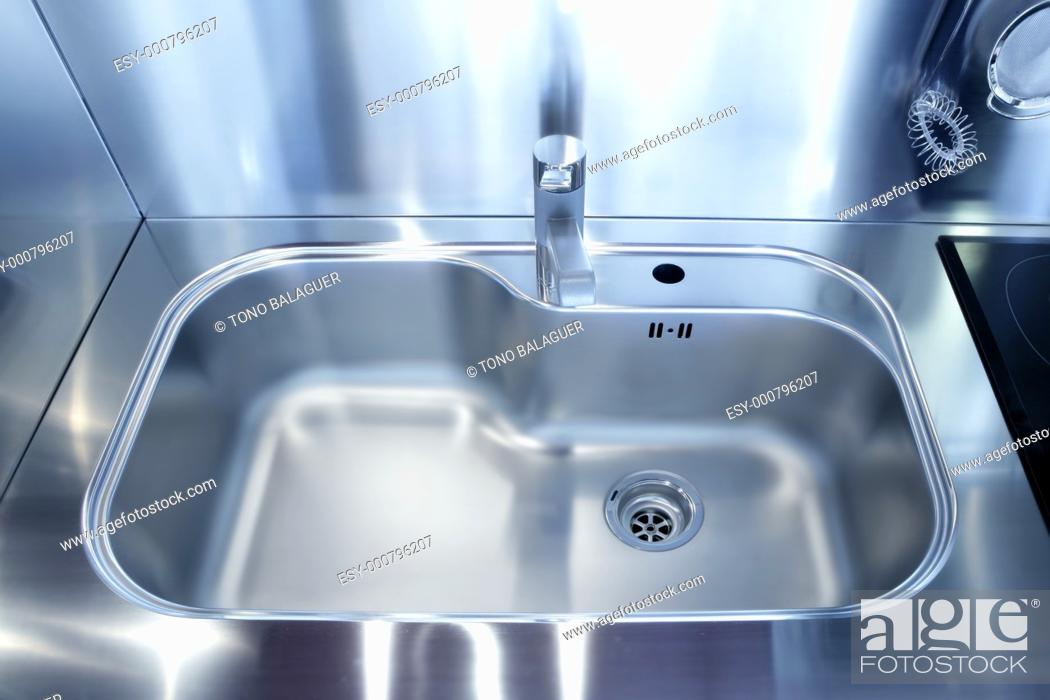 Stock Photo: Kitchen silver sink modern decoration house stainless steel.
