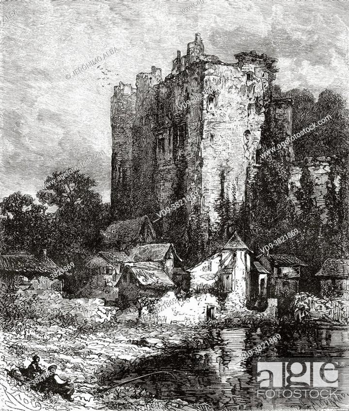 Stock Photo: Ruins of Château de Clisson, Pays de la Loire. France. Old 19th century engraved illustration from Histoire de la Revolution Francaise 1876 by Jules Michelet.