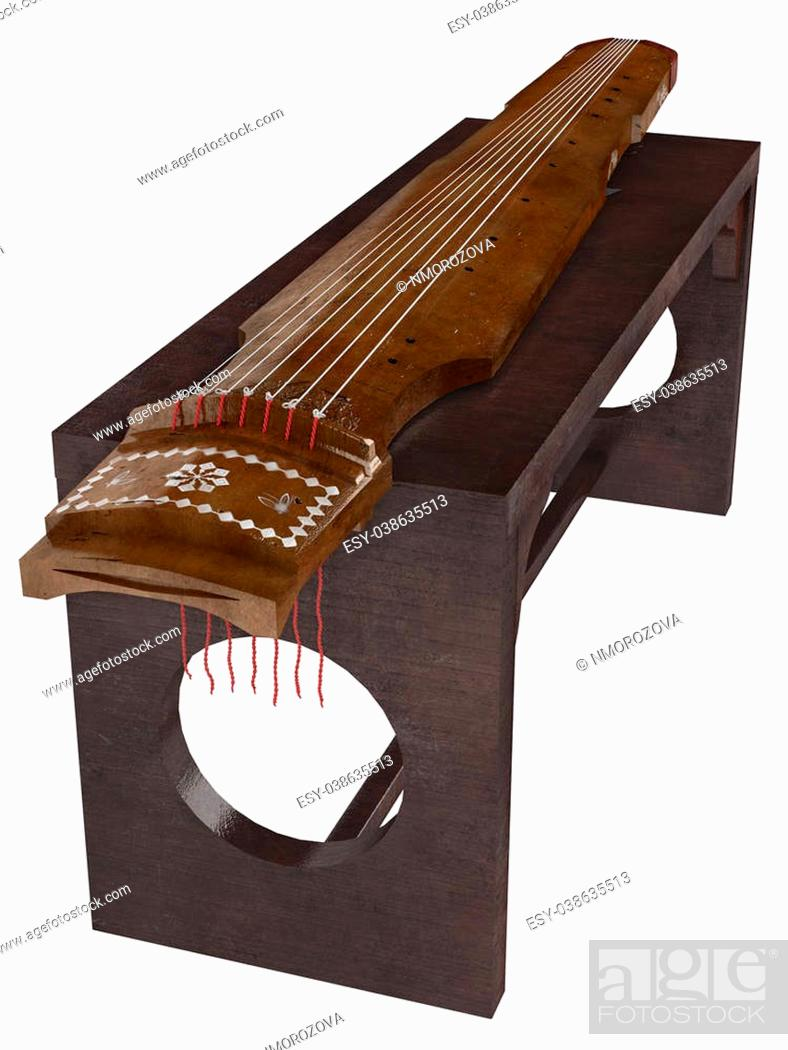 Photo de stock: Guqin isolated on white background.