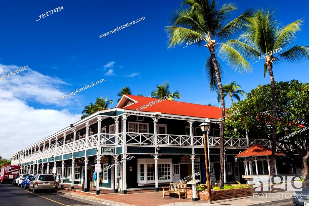 Stock Photo: Historic buildings Lahaina Maui Hawaii USA.