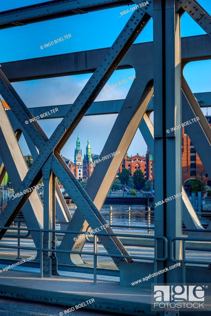Stock Photo: Germany, Hamburg, Elbe, harbor, Hafencity, bridge, Magdeburger bridge.