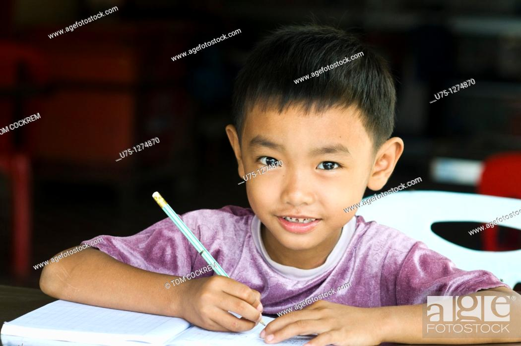 Stock Photo: Boy at Sisophan, Cambodia,.