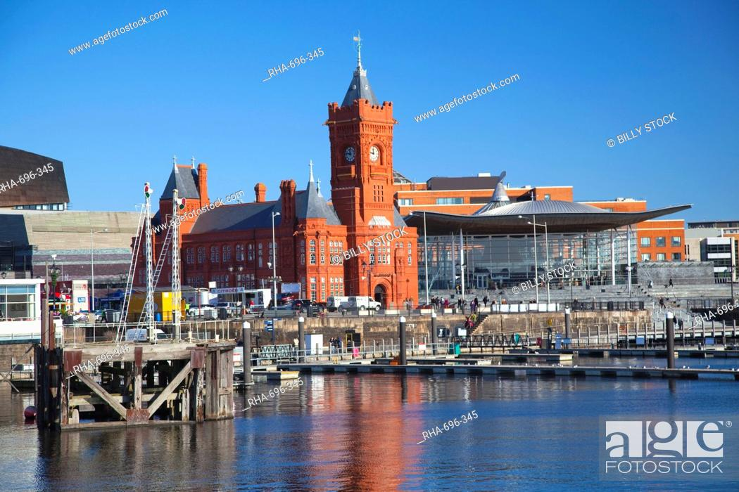 Stock Photo: The Senedd Welsh National Assembly Building and Pier Head Building, Cardiff Bay, Cardiff, South Wales, Wales, United Kingdom, Europe.