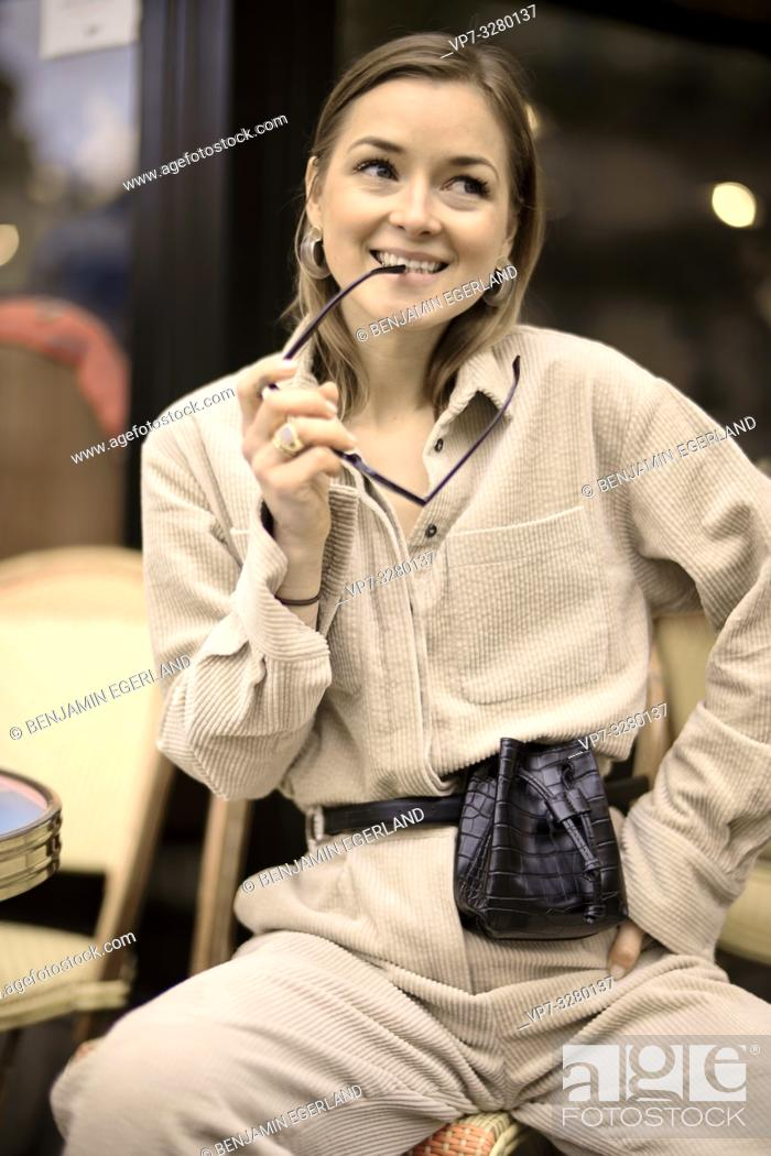 Stock Photo: fashionable woman, in Paris, France.