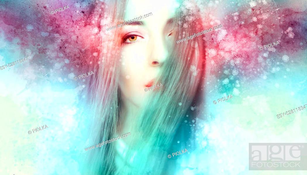 Stock Photo: Beautiful woman artwork in a winter mood.