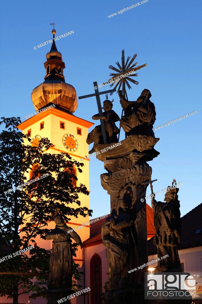 Stock Photo: Germany, Bavaria, Upper Palatinate, Tirschenreuth, View of parish church with trinity column.