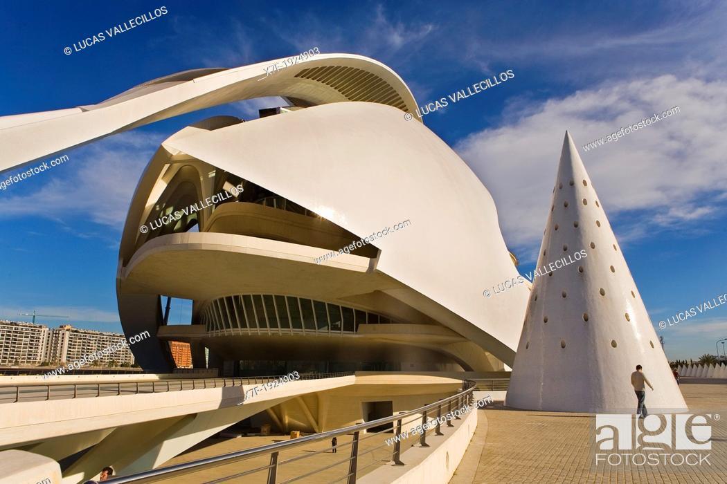 Stock Photo: Palacio de las Artes Reina Sofía, City of Arts and Sciences by S  Calatrava  Valencia  Spain.