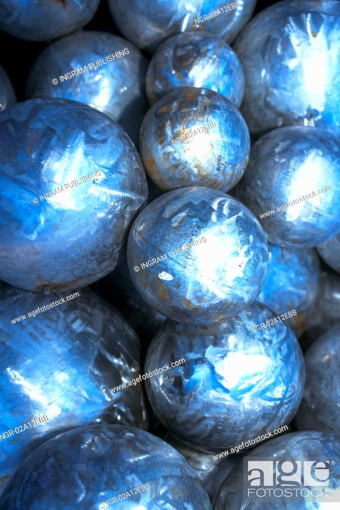 Stock Photo: Close-up of a pile of silver balls.