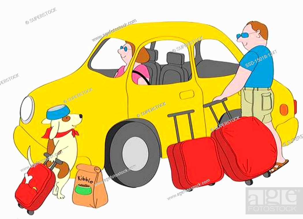 Stock Photo: Man and dog with suitcases standing next to yellow car, woman sitting inside, illustration.