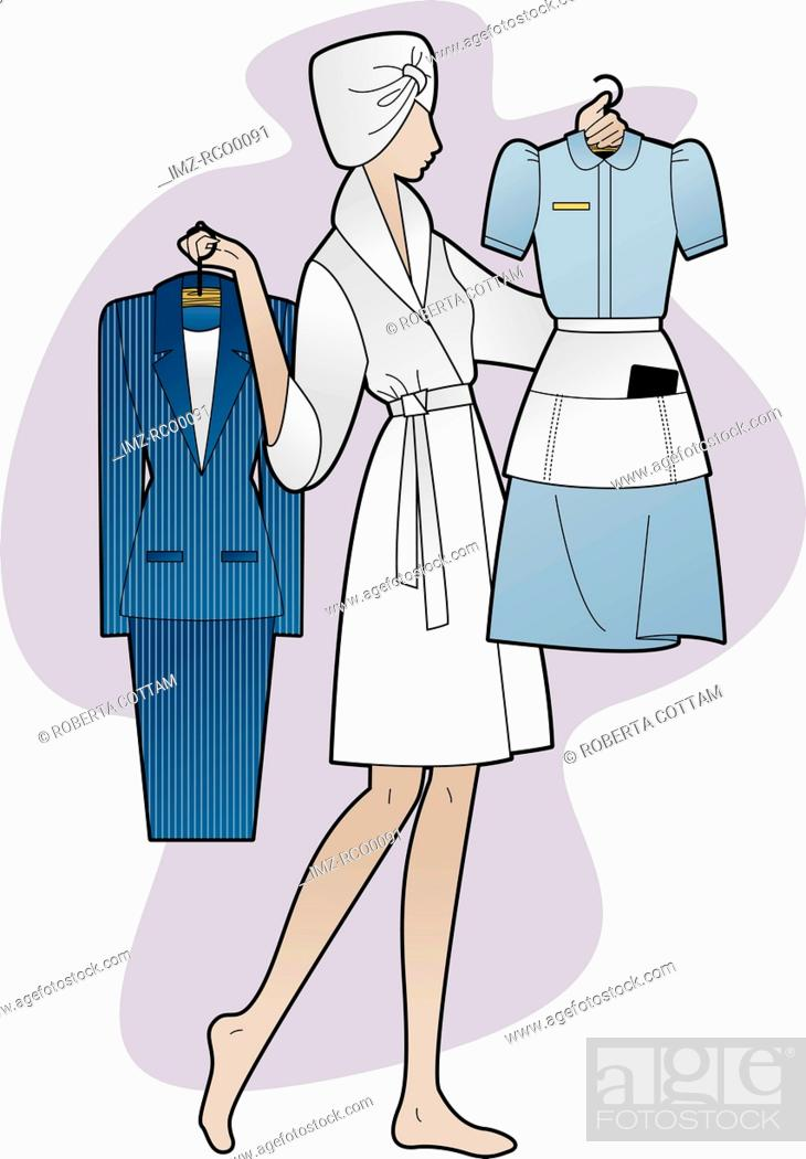 Stock Photo: A woman holding a business suit and a maid's outfit.