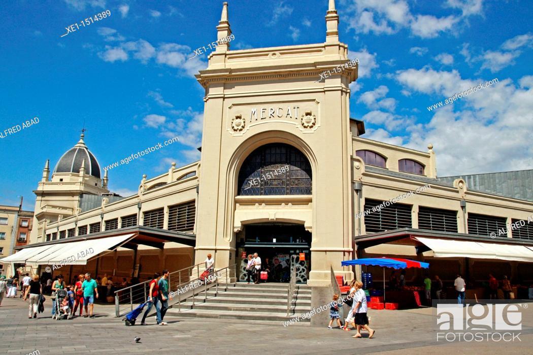 Stock Photo: Central Market, 1930, architect: Josep Renom, Sabadell, Catalonia, Spain.