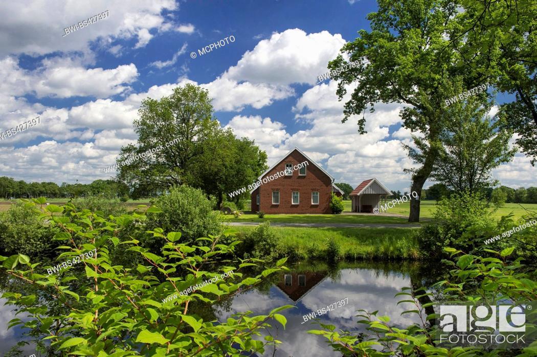 Stock Photo: Elisabethfehn Canal in spring, Germany, Lower Saxony, Oldenburger Muensterland, Elisabethfehn.