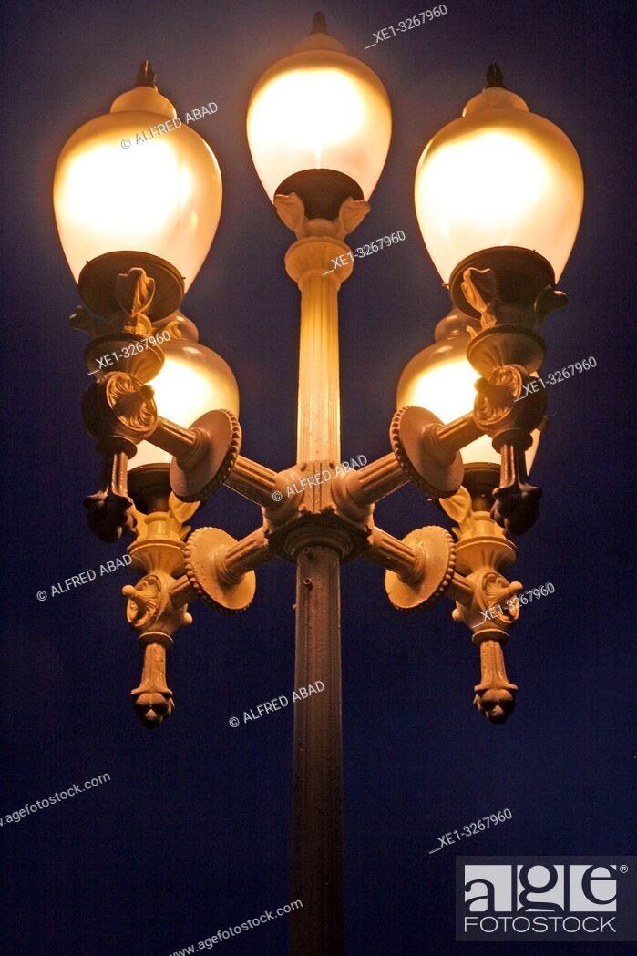 Stock Photo: Modernist street lamp, Moll de la Fusta, Barcelona, Catalonia, Spain.