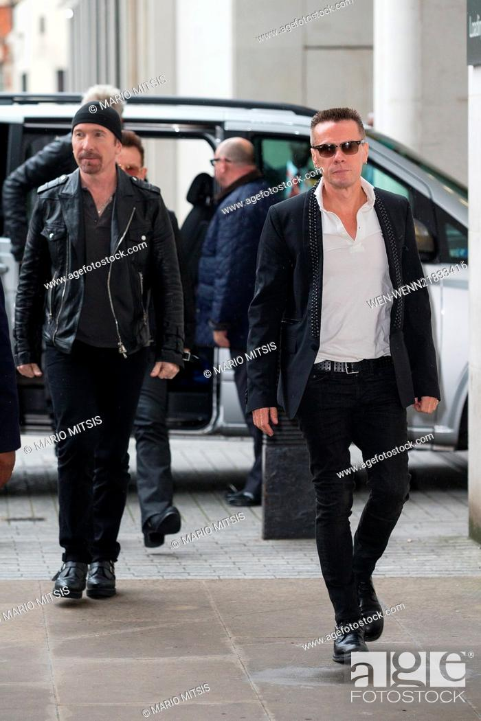 Rock band U2 arriving at the BBC Radio 1 studios Featuring